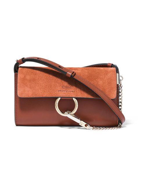 chlo faye mini leather and suede shoulder bag in brown lyst. Black Bedroom Furniture Sets. Home Design Ideas