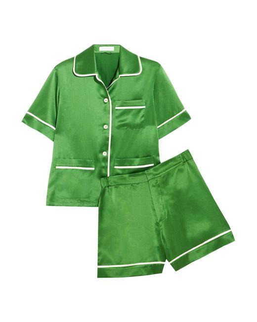 Olivia Von Halle | Green Millicent Silk-satin Pajama Set | Lyst