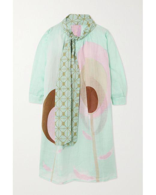 Yvonne S Blue Kleid Aus Bedrucktem Leinen Mit Schluppe