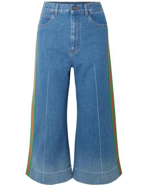 Gucci - Blue Verkürzte, Hoch Sitzende Jeans Mit Weitem Bein - Lyst