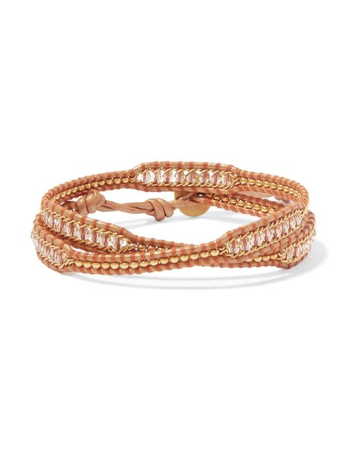 Chan Luu - Natural Leather And Gold-tone Beaded Wrap Bracelet - Lyst