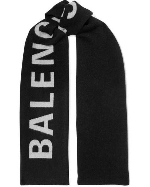 Balenciaga Black Intarsia Wool Scarf
