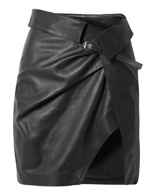 Isabel Marant - Black Baixa Leather Wrap Mini Skirt - Lyst