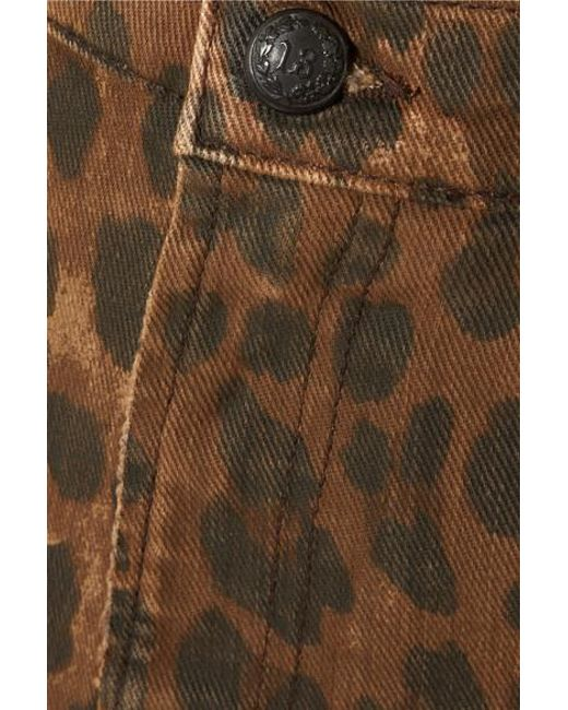 b81479db9 ... R13 - Brown Distressed Leopard-print Denim Mini Skirt - Lyst