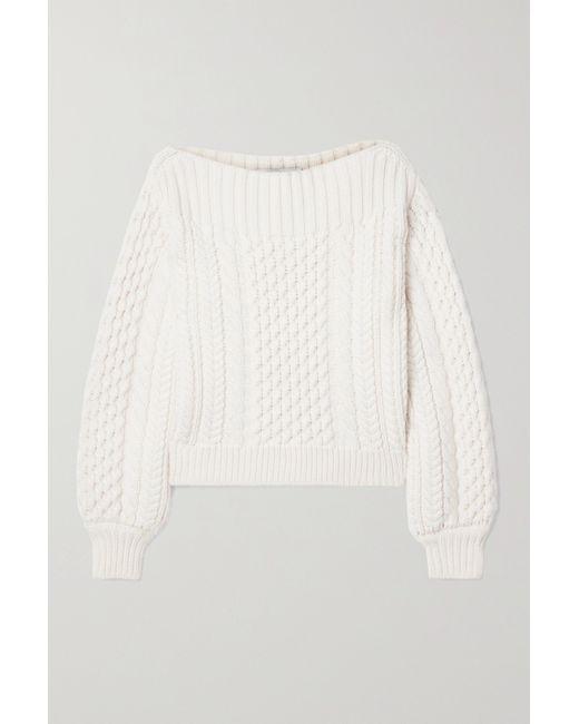PROENZA SCHOULER WHITE LABEL White Pullover Aus Einer Wollmischung Mit Zopfstrickmuster