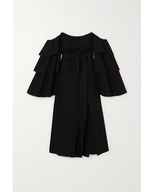 RED Valentino Black Schulterfreies Kleid Aus Stretch-baumwollpopeline Mit Volants