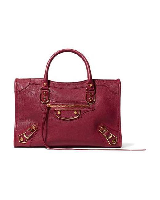 ba3058a9b4 Balenciaga Metallic Edge City Medium Textured-leather Tote in Red - Lyst