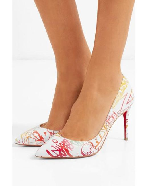 low priced 12c9d 69f36 Christian Louboutin Pigalle Follies 85 Printed Leather Pumps ...