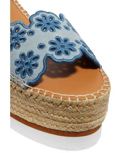4cbe8fd6618 Women's Blue Embroidered Laser-cut Suede And Leather Espadrille Wedge  Sandals