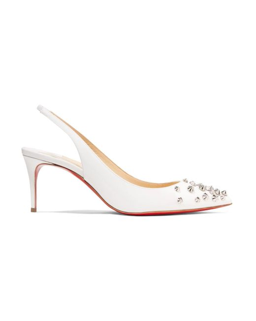 Christian Louboutin - White Drama 70 Studded Patent-leather Slingback Pumps - Lyst