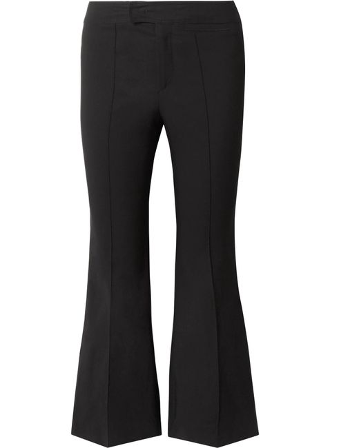Isabel Marant - Black Nyree Cropped Cotton-blend Flared Pants - Lyst
