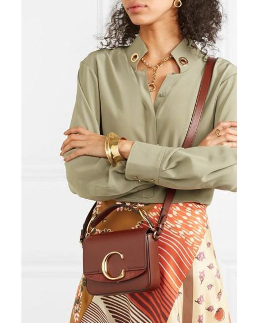 30c93bdc6a Chloé C Mini Suede-trimmed Leather Shoulder Bag in Brown - Save 12 ...