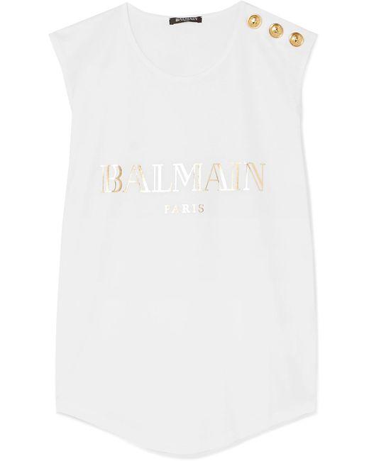9ccaad9b73cbdf Balmain - White Button-embellished Printed Cotton-jersey Tank - Lyst ...