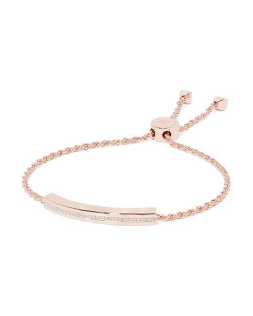 Monica Vinader | Metallic Linear Rose Gold Vermeil Diamond Bracelet | Lyst