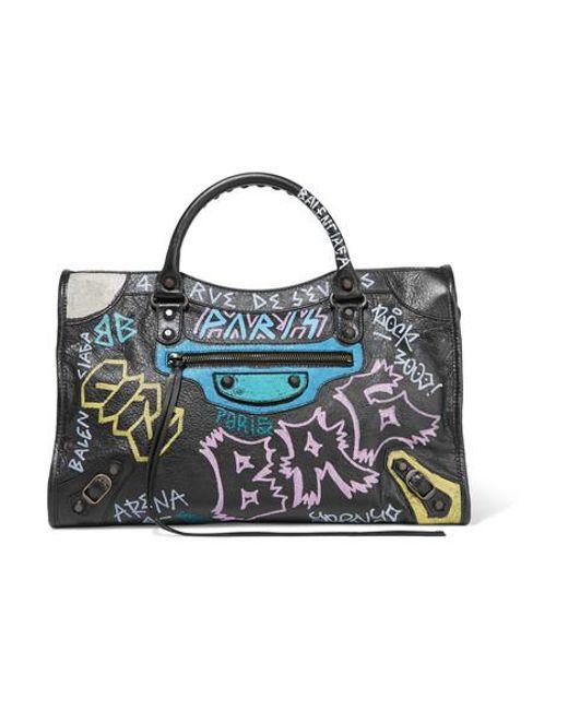 41e673f889 Balenciaga - Black Classic City Printed Textured-leather Tote - Lyst ...