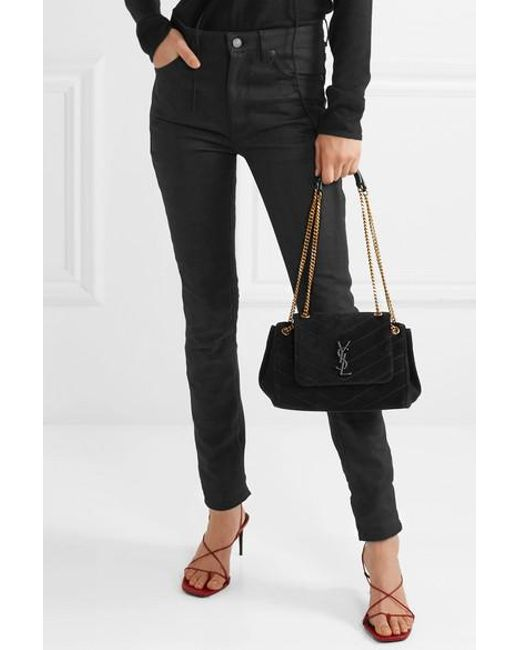 67eeb24c4871c4 ... Saint Laurent - Black Nolita Medium Quilted Suede Shoulder Bag - Lyst  ...