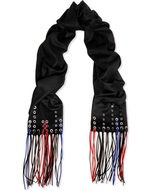 Alexander McQueen | Black Fringed Embellished Cashmere Scarf | Lyst