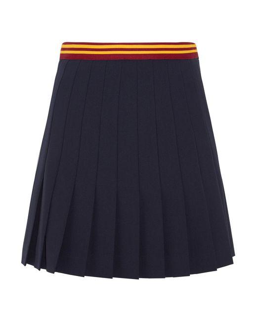 Miu Miu | Blue Pleated Wool-blend Mini Skirt | Lyst
