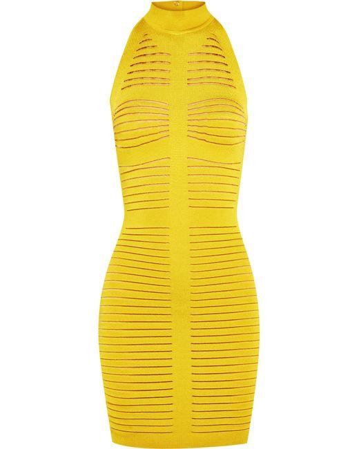 Balmain | Yellow Cutout Ribbed Stretch-knit Mini Dress | Lyst