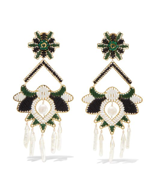 Mercedes Salazar - Green Tropic Gold-tone, Bead And Faux Pearl Clip Earrings - Lyst