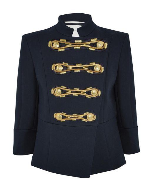 Balmain | Blue Cropped Sleeves Jacket | Lyst