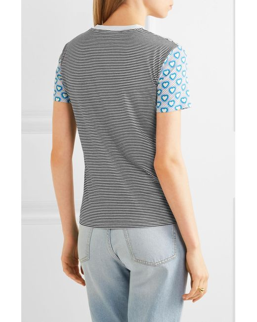 Miu miu printed jersey t shirt in blue lyst for Miu miu t shirt