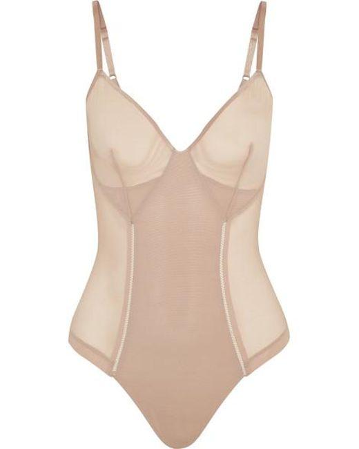 2a8309bdaad5e Body String Gainant En Résille Stretch Haute Contour Nouveau femme de  coloris neutre