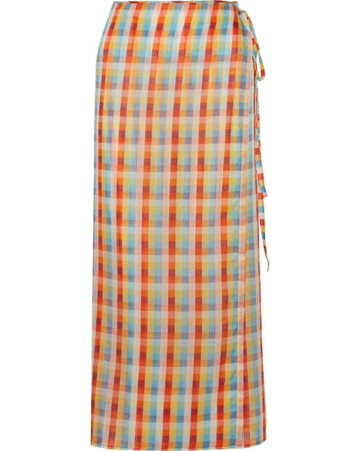 Miu Miu | Orange Checked Cotton-voile Wrap Midi Skirt | Lyst
