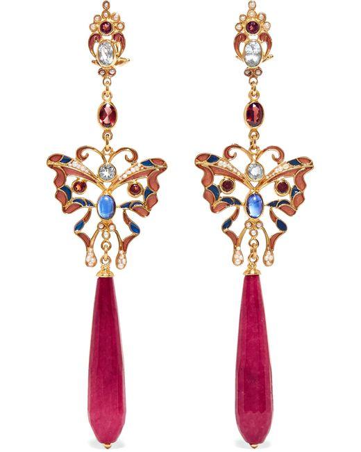 Percossi Papi | Metallic Gold-plated, Enamel And Multi-stone Earrings | Lyst