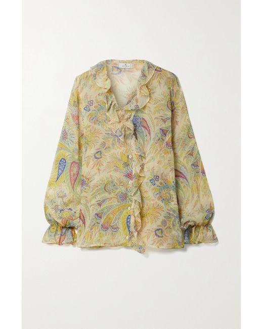 Etro Yellow Bluse Aus Bedrucktem Seidenkrepon Mit Rüschen