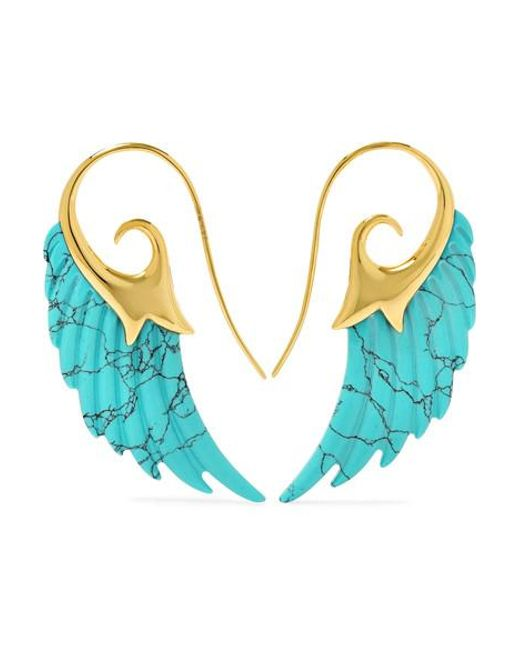 Noor Fares   Metallic Wing 18-karat Gold Turquoise Earrings   Lyst