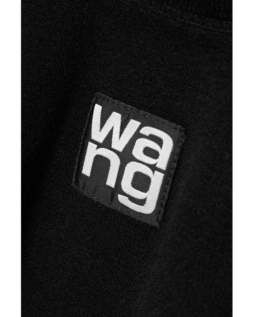 T By Alexander Wang Black Verkürztes Oberteil Aus Stretch-jersey Mit Stehkragen Und Applikation