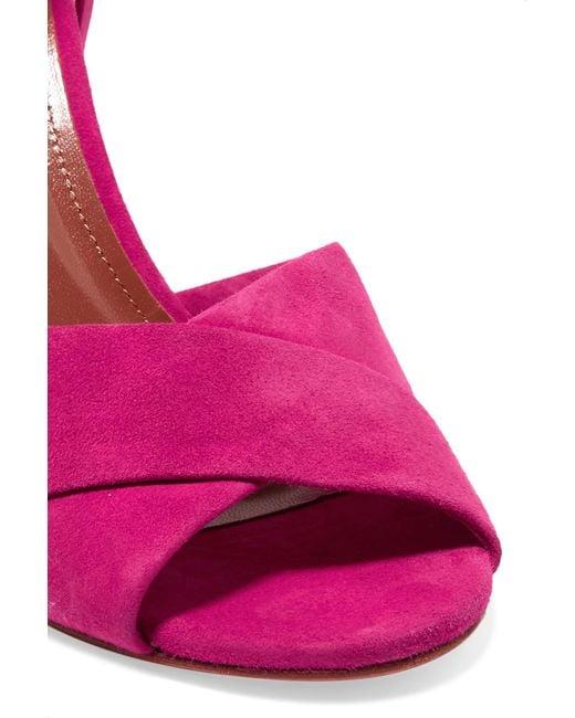 aquazzura tarmid suede wedge sandals in purple lyst