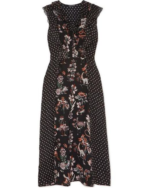Markus Lupfer - Black Larissa Ruffle-trimmed Printed Silk Crepe De Chine Midi Dress - Lyst