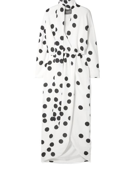 Monique Lhuillier - White Wrap-effect Pussy-bow Polka-dot Chiffon Midi Dress - Lyst