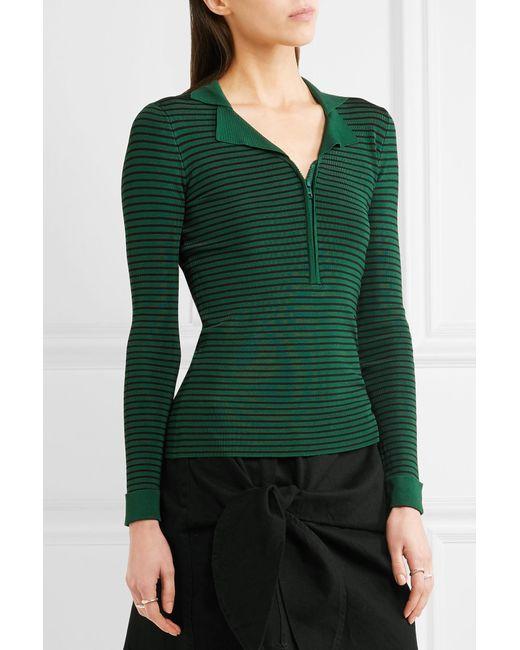 Ganni Evangel Striped Ribbed Stretch Knit Top In Green Lyst