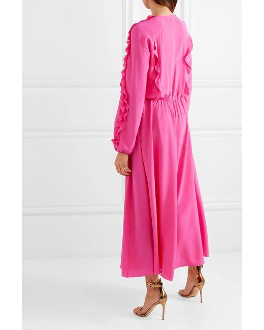 727d19cf987 ... RED Valentino - Pink Ruffled Silk Crepe De Chine Midi Dress - Lyst ...