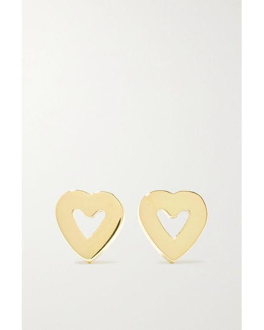 Jennifer Meyer Metallic Mini Open Heart Ohrringe Aus 18 Karat Gold