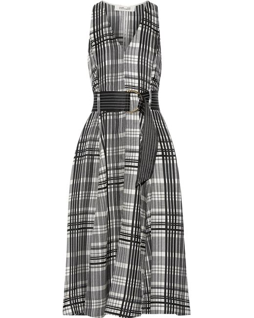 Diane von Furstenberg   Gray Plaid Belted Silk-twill Midi Dress   Lyst
