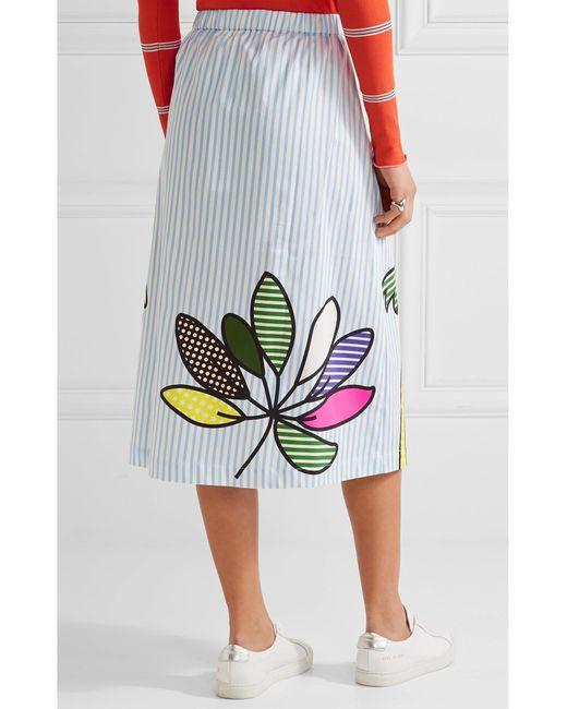 mira mikati printed cotton blend poplin midi skirt in blue lyst