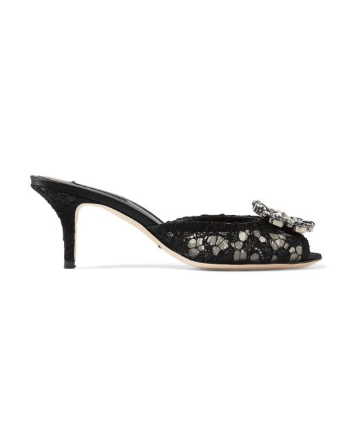 Dolce & Gabbana | Black Crystal-embellished Corded Lace Mules | Lyst