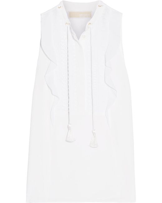 MICHAEL Michael Kors | White Crochet And Georgette-trimmed Stretch-crepe Top | Lyst