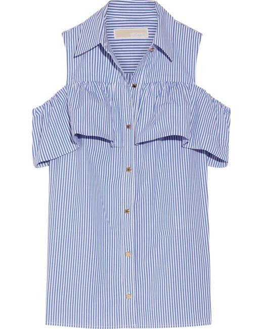 MICHAEL Michael Kors | Blue Cold-shoulder Striped Stretch-cotton Blouse | Lyst