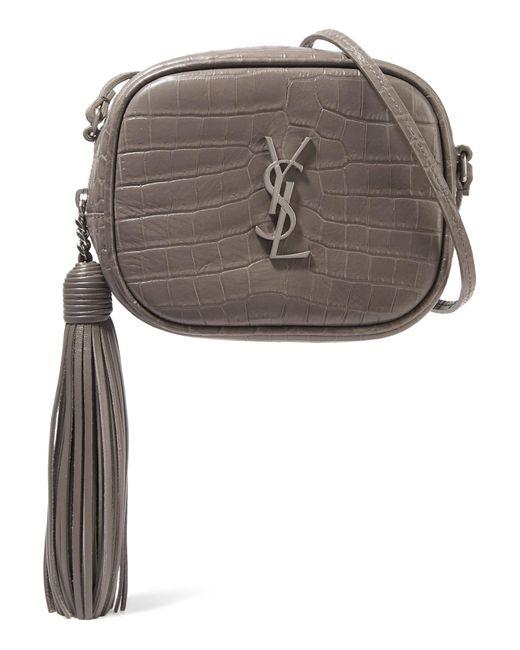 Saint Laurent | Gray Monogramme Blogger Croc-effect Leather Shoulder Bag | Lyst