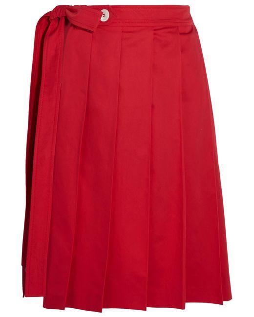 Miu Miu | Red Pleated Cotton-poplin Wrap Skirt | Lyst