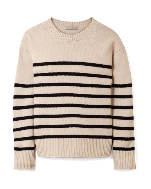 Vince | Natural Tie-detailed Striped Cashmere Sweater | Lyst