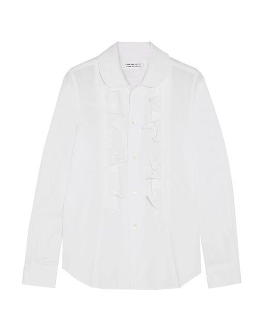 Comme des Garçons - White Ruffled Cotton-poplin Shirt - Lyst