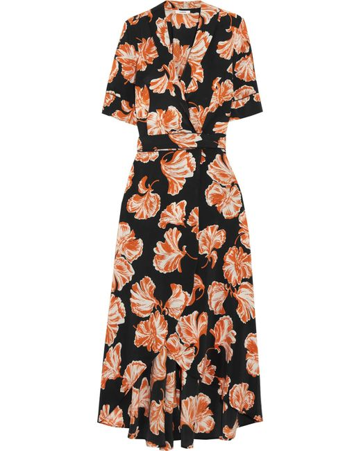 Ganni   Black Floral Print Wrap Dress   Lyst