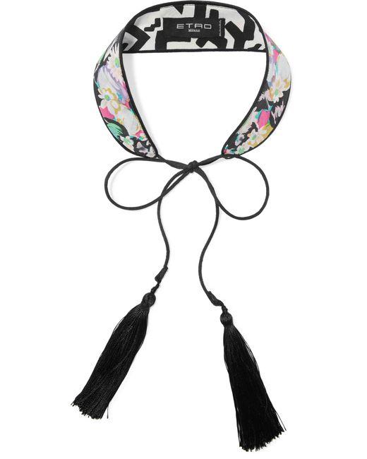 Etro - Black Tasseled Printed Silk Choker - Lyst
