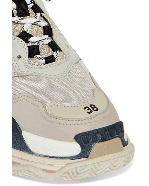 Balenciaga Leder Triple S Sneakers Aus Leder, Nubukleder Und